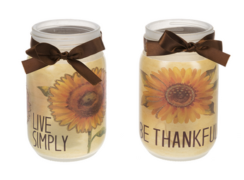 Thankful & Live Simply Candles in Jars
