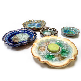Recycled Glass Candle Holders and Dishes