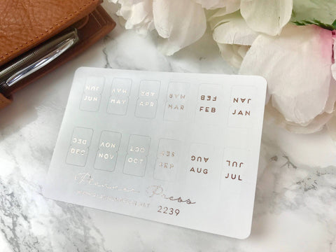 Rose Gold Foiled Monthly Tab Stickers - Fits Erin Condren, KikkiK, Filofax Planners and Midori Notebooks 2239 - Planner Press