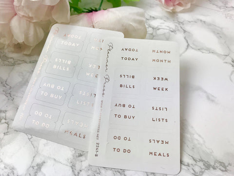 Rose Gold Foiled Tab Stickers - Fits Erin Condren, KikkiK, Filofax Planners and Midori Notebooks 2241 - Planner Press