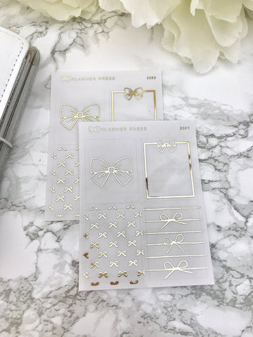 Bows Clear Overlay Foil Headers - Fits Erin Condren, KikkiK, Filofax Planners and Midori Notebooks 2282 - Planner Press