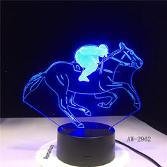 Horse Racing Model 3D Night Light USB Novelty Gifts 7 Colors Changing LED Desk Table Touch Base Lamp Kids Gift Dropship AW-2962