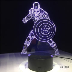 Movie Captain America Shield Figure 3D Multicolor Acrylic Table Night light LED illusion Touch USB lamp Boy kids Toy Gift AW-360