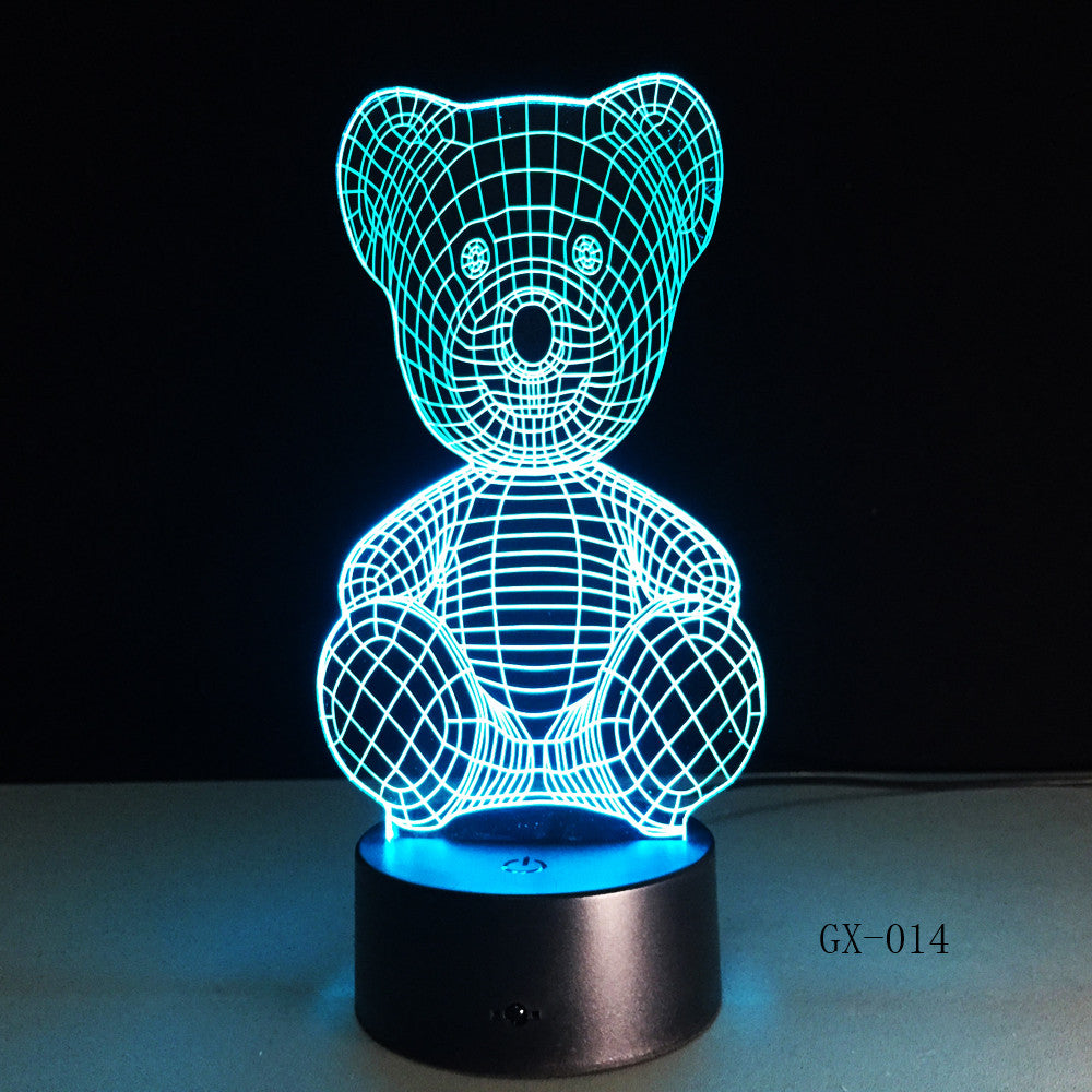 Cartoon Cute Winnie Bear Hold Heart Shape Acrylic LED Lamp 3D Night Light For baby children Sleeping Lighting Drop Ship GX-014
