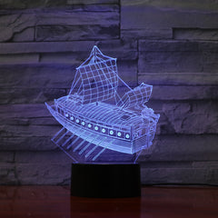 Boat 2 - 3D Optical Illusion LED Lamp Hologram