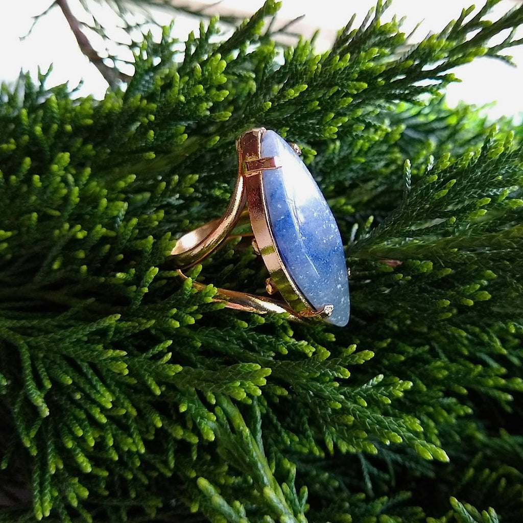 side view of marquise shaped blue quartz cocktail ring
