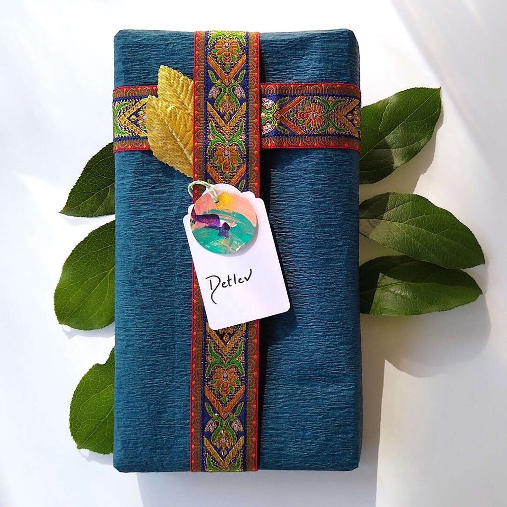 example of wrapped gift with Bella Bohemian Papeterie gift tag