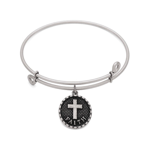 SOL Cross, Bangle Antique Silver Color Finish