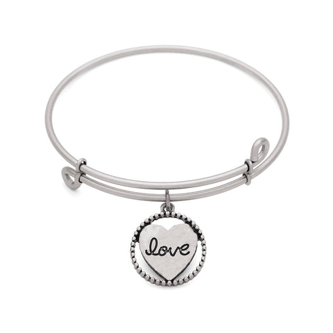 SOL Heart, Bangle Antique Silver Color Finish