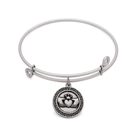 SOL Claddagh, Bangle Antique Silver Color Finish