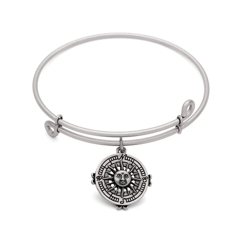 SOL Compass, Bangle Antique Silver Color Finish