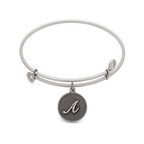 SOL Initial A, Bangle Antique Silver Color Finish