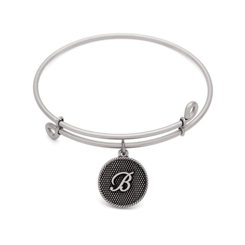 SOL Initial B, Bangle Antique Silver Color Finish