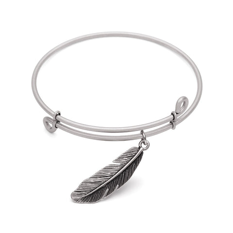 SOL Feather, Bangle Antique Silver Color Finish