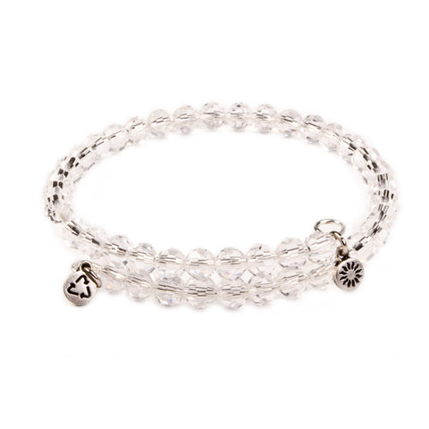 SOL Clear Crystal, Cufflet Antique Silver Color Finish