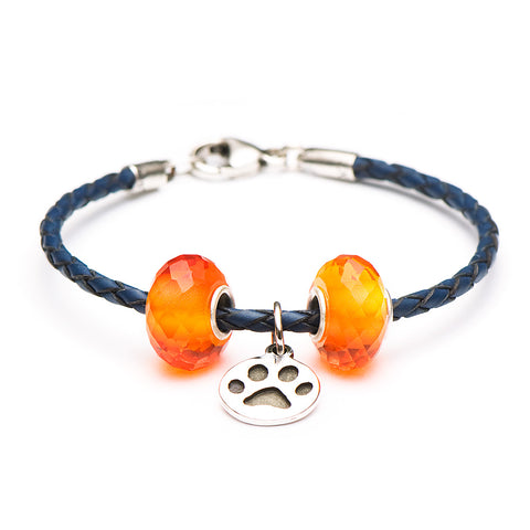 Novobeads School Spirit Bracelets, Blue/Orange Paw