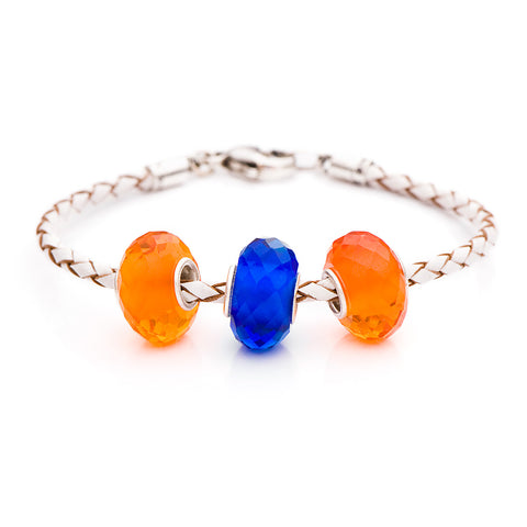 Novobeads School Spirit Bracelets, Orange/Blue