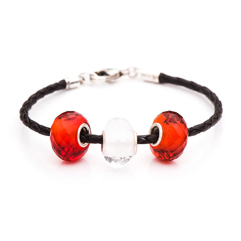 Novobeads School Spirit Bracelets, Red/Black/White