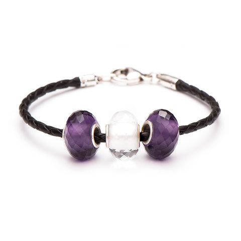 Novobeads School Spirit Bracelets, Purple/White