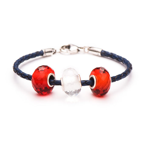 Novobeads School Spirit Bracelets, Red/White/Blue
