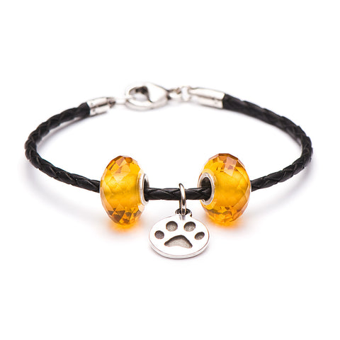 Novobeads School Spirit Bracelets, Black/Honey Paw