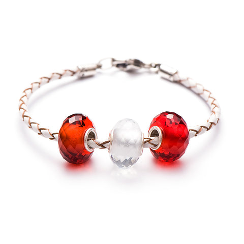 Novobeads School Spirit Bracelets, Red/White