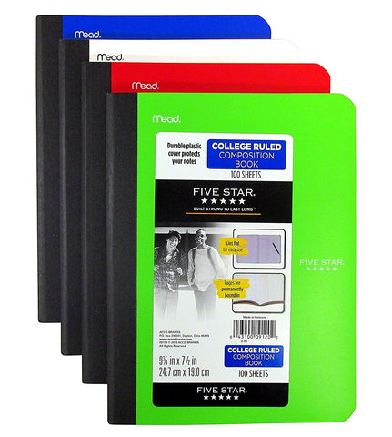 GS7000052-4 PACK COMPOSITION NOTEBOOK SET-COLLEGE RULED