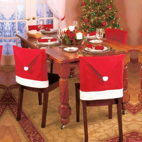 GS2004- 1pc Santa Hat Chair Covers,Morecome Christmas Decor Dinner Chair Xmas Cap Sets