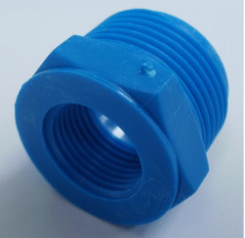 "1/2"" BSP Male x 1/4"" BSP Female Blue Plastic Adapter"