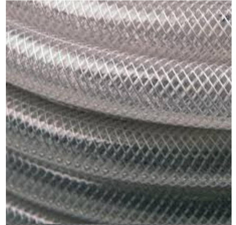 10mm ID x 16mm OD Reinforced Clear Braided PVC Tubing, 30 Metre Coil