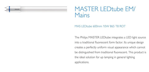 Philips 2ft (600mm) LED Tube, 10w, 6500K, 1050LM With Rotating Caps (EM Starter / Mains)