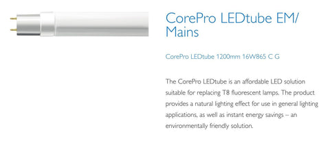 Philips 4ft (1200mm) LED Tube, 16w, 6500K, 1600LM In Glass (Corepro)