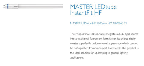 Philips 4ft (1200mm) LED Tube, 18w, 6500K, 2100LM With Rotating Caps (HF Ballast Instant Fit)