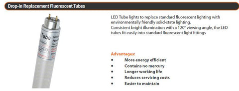 "White  T8 LED ""Drop In"" Tube, 100v~240v AC, 8w, 60cm"
