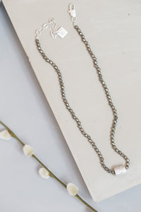 Short Pyrite Necklace - silver - m-use