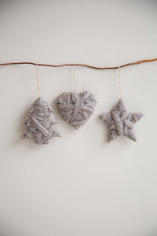 Set of 3 Wool Decorations (Star, Heart, Tree) - m-use