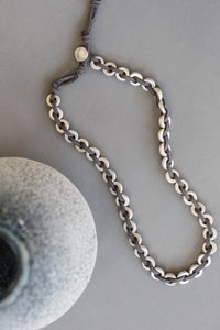 Suede Plaited Necklace - silver - m-use