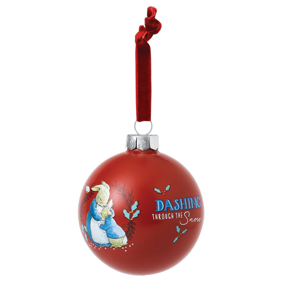 Mrs. Rabbit & Peter Rabbit Merry Christmas Bauble