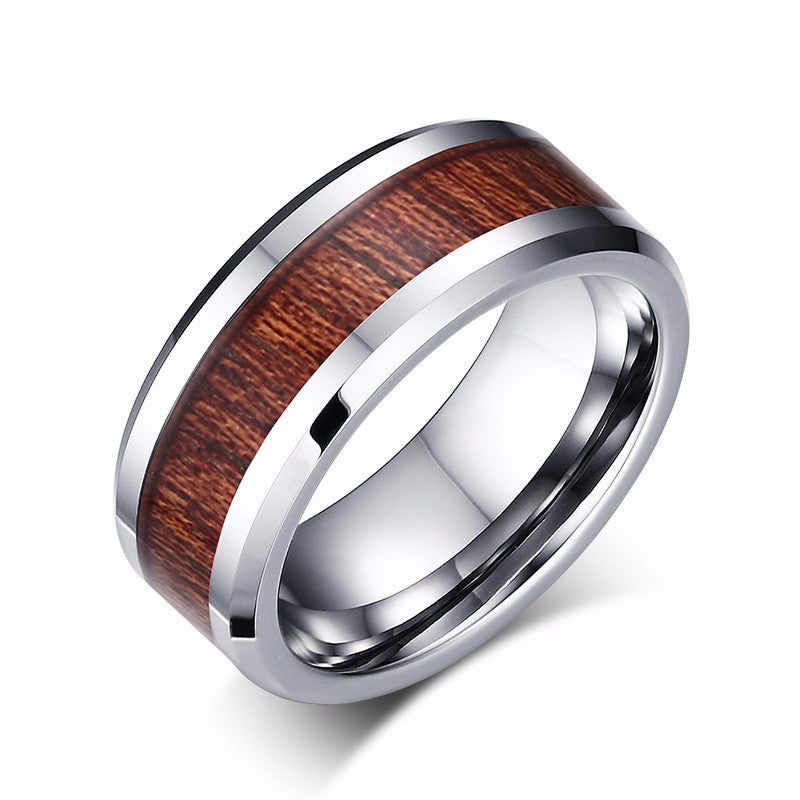 Wood Grain Tungsten Carbide Ring