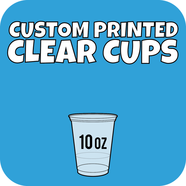 10oz Custom Printed Clear Cups 1000ct - CustomPaperCup.com Branded Restaurant Supplies