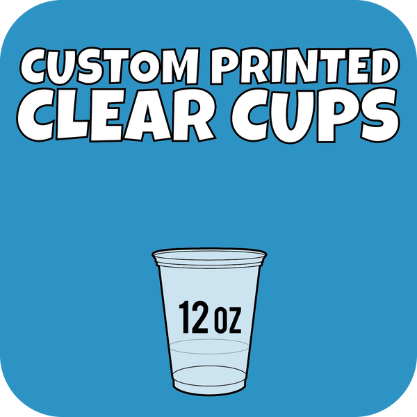 12oz Custom Printed Clear Cups 1000ct - CustomPaperCup.com Branded Restaurant Supplies