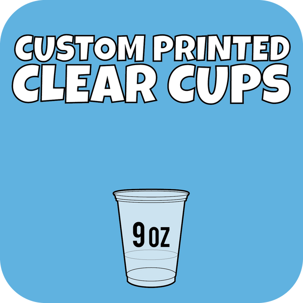 9oz Squat Custom Printed Clear Cups 1000ct - CustomPaperCup.com Branded Restaurant Supplies