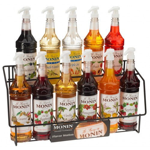Monin Syrup Wire Rack (11 Bottles) - CustomPaperCup.com Branded Restaurant Supplies