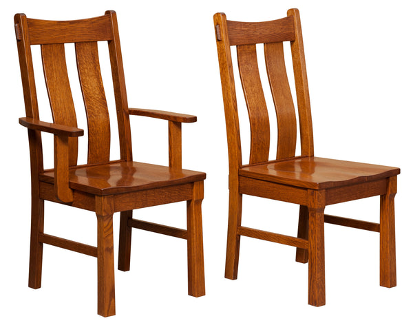 Beaumont arm chair and side chair shown in 1/4 Sawn White Oak with a Michaels Cherry finish