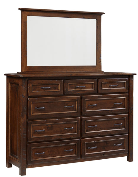 Belwright dresser shown in Rustic Cherry/Coffee with sawcut distressing and low sheen finish