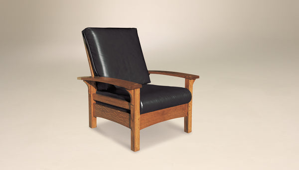 Durango Morris chair shown in 1/4 sawn white oak with black leather upholstery