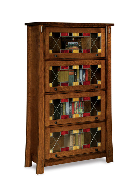 Modesto barrister bookcase shown in 1/4 Sawn White Oak with a Michaels Cherry finish