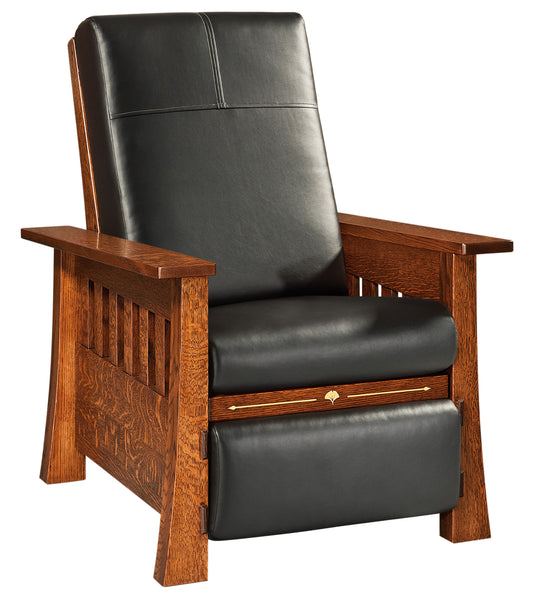 Mesa wall hugger recliner shown in 1/4 Sawn White Oak/Michaels with Ravenwing Ultra Leather fabric