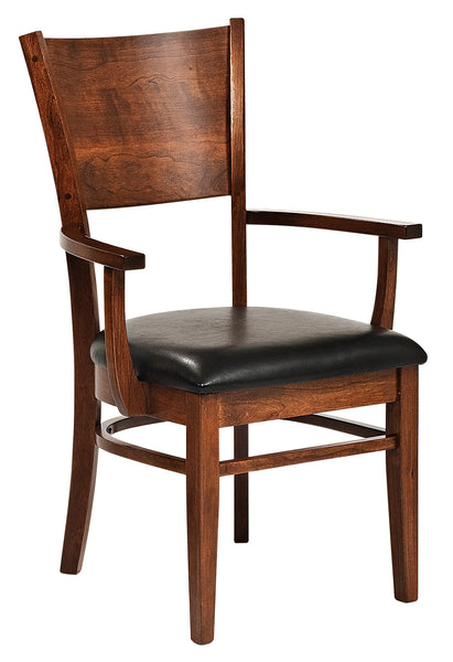 Somerset arm chair shown in cherry with a leather upholstered seat