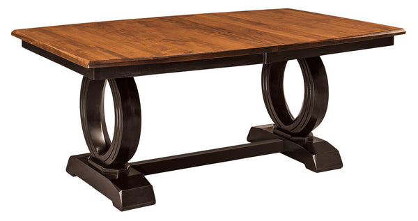 Saratoga Trestle table shown in Brown Maple with a Autumn Leaf top and Onyx base